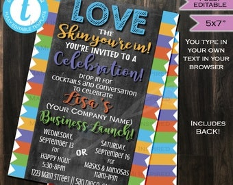 Rodan Fields Invitation Business Launch Party- BBL Invite R+F Cocktails and Conversation Skin Chalkboard Printable INSTANT Self EDITABLE 5x7