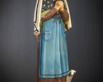 """RARE 20"""" Large Saint Bernadette Soubirous Plaster Statue Vintage St Figure"""