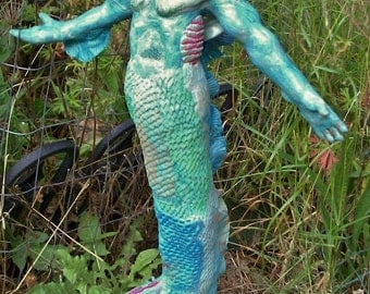 OOAK polymer clay doll-mermaid merman