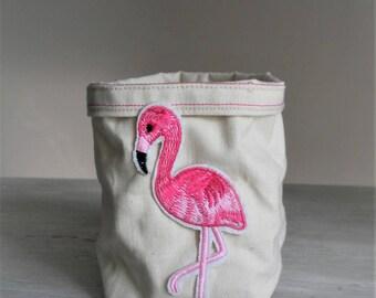 Ecru storage basket and pink Flamingo patch. 1 piece.
