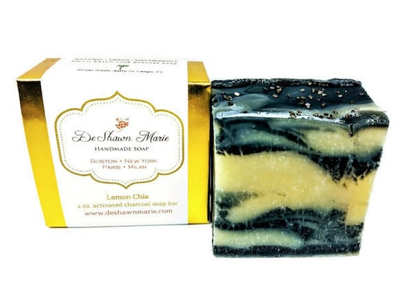 SOAP - Lemon Chia Handmade Soap, Vegan Soap, Cold Process Soap, Natural Soap, Activated Charcoal Soap, Christmas Gift, Father's Day Gift