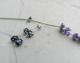 Black, White & Blue Dot~Double Dangle~Rare Venetian Antique Glass Trade Bead Earrings~Flower