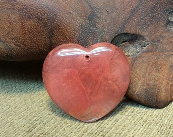 Natural Cherry Volcano Quartz Heart