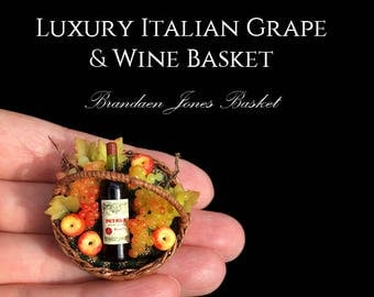 Ooak After Dark Miniatures & Brandaen Jones collaboration Artisan Wine Basket - Handmade Miniature 12th scale From After Dark miniatures