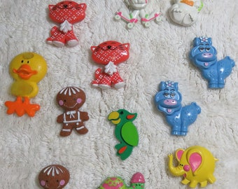 12 Vintage Avon Pins 1970s Glace Perfume Pins Calico Cat Elephant Blue Moo Gingerbread Assorted Retro Jewelry