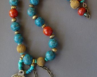 Three Brass Lions Necklace Tibetan Buddhist Amulets w Vintage Tibetan Turquoise and Old Sponge Coral Beads Ethnic Gemstone Jewelry