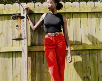 Brick red tapered high waist high rise trousers 1990s 90s VINTAGE