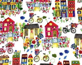 Organic cotton Fabric, City scene kids fabric 100%  certified organic cotton fabric for Quilting crafting and all sewing projects.