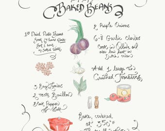 An Illustrated Recipe - hand lettered & painted - 'from the kitchen'