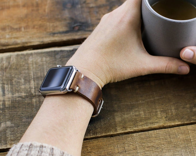 Leather Apple Watch Strap  Horween Brown Nut Leather | Leather Loops