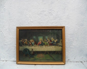 """Brunozettis Last Supper Smaller Lithograph 12 inches by 9"""" inches Vintage Wooden Frame"""