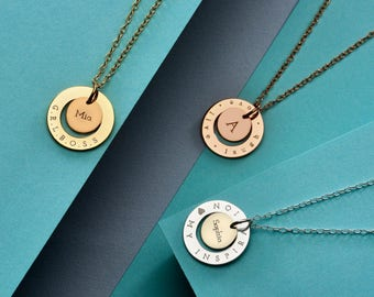 Personalised Initial Halo Necklace - Circle Halo Necklace - Customised Disc Necklace - Name Necklace - Gift For Her