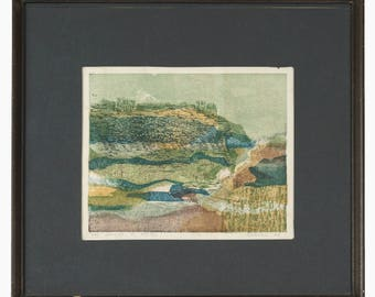 1965 Bergel Woodcut Print Collagraph Limited Edition 10/15 Abstract Abstraction Vintage Art