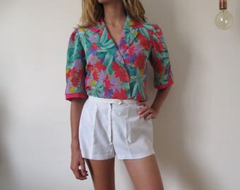 Vintage Handmade Colorful shirt french flower bright chic colored  70-80's // M