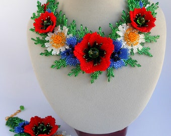 Beaded necklace red flowers Real flower necklace Beaded flower necklace Red poppies Ukrainian necklace Necklace poppies Ukrainian embroidery