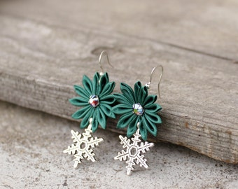Coworker gift Green Christmas earrings with charms Christmas jewelry Green earrings Xmas earrings Snowflake earrings Xmas gift