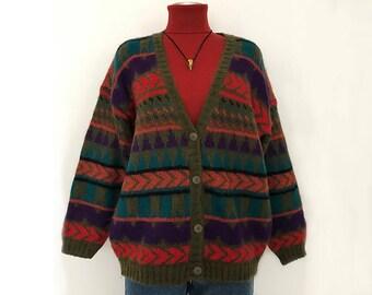 Vintage cardigan women / 90s mohair sweater / mohair cardigan women / geometric sweater / geometric cardigan / mohair sweater women