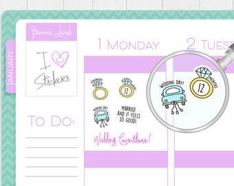 Wedding Countdown Stickers, Planner Stickers, Wedding Planner Stickers, Calendar Stickers, Small Stickers, Icon Stickers, Wedding Labels
