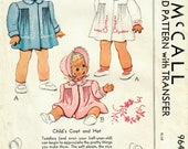 1940s McCall 964 Vintage Sewing Pattern Toddler Heirloom Coat, Hat or Bonnet Size 1