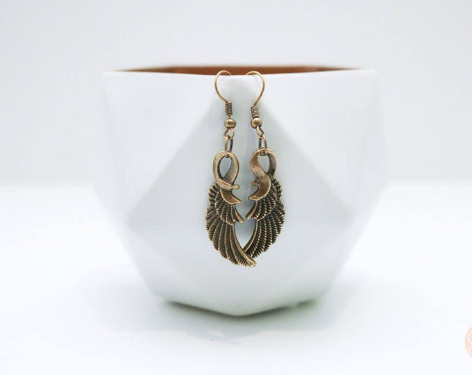 Antiqued Bronze Bird Feather Earrings.