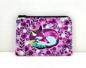 Purple Fox Zipper Pouch - Fox Coin Purse - Fox Zipper Bag - Change Purse - Small Zippered Pouch - Padded - Women Wallet