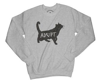 Cat sweater Adopt sweatshirt inspirational sweatshirt cat sweatshirt shelter sweatshirt motivational sweatshirt with sayings   APV3