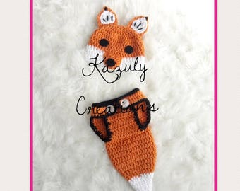 Fox baby photo prop , fox newborn outfit , crochet fox baby set , fox newborn baby hat , fox newborn baby photo prop , baby shower fox