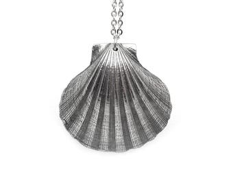 Scallop Necklace in Pewter, Sea Shell Pendant, Beach Jewelry