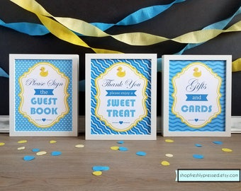 Printable Rubber Ducky Baby Shower Signs! Download & Edit Templates in Microsoft Word.  8x10, and 5x7 signs, Customize and Print at home!