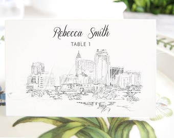 Raleigh Skyline Place Cards, Fairytale Wedding, Placecards, Escort Cards, North Carolina Wedding, Custom with Guests Names (Set of 25 Cards)
