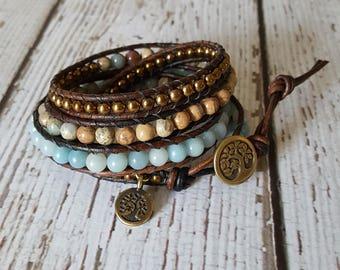 Amazonite, Serpentine & Gold Hematite Wrap Bracelet, Charm Bracelet, Gemstone Wrap Bracelet, Boho Chic Yoga Jewelry, x4 Wrap Bracelet Beaded