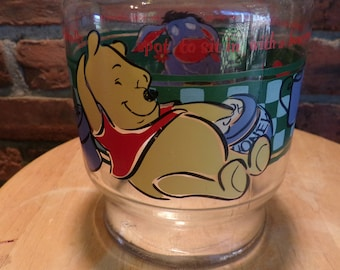 Vintage Anchor Hocking Winnie the Pooh Glass Juice Jug, Winnie the Pooh, vintage juice jug