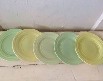 Pretty Vintage Set of 5 Light Pastel color Milk Glass Luncheon Plates mid century