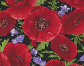 BTY Large RED POPPIES on Black Floral Print 100% Cotton Quilt Crafting Hi Fashion Fabric by the Yard