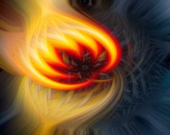 Lustre Print: Campfire-A Digital Art Creation