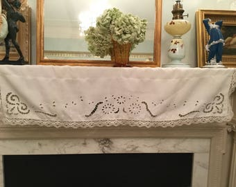 "Antique Victorian Valance ,Mantelpiece,French console top,tablecloth.49"" x13""Superb cutwork in excellent condition.Stunning bobbing lace."