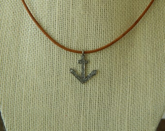 Leather necklace with pave diamond anchor charm, leather jewelry, choker necklace, beach boho, festival chic, greek leather, festival chic