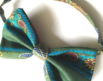 African Wax Print/Ankara Bow Tie with Adjustable Neck Band - (Ties, Bowtie, Formal, Casual, Accessories, Green, Blue)