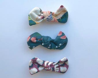 SET OF 3, Knot Bows, Floral, nylon headband, alligator clip, infant, toddler, baby gift