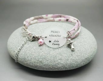 "liberty bracelet pink cabochon ""Thank you nanny"" + name heart - personalized gift for nanny, babysitter, pre-school"
