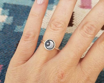 Moon & Star Stamped Stacker Ring - Size 7