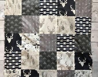Woodland Theme Baby Blanket Navy Gray White Deer