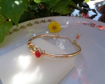 Gold Bangle, cuff, 585 gold filled, beautifully handcrafted with coral