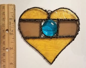 Stained Glass Heart Suncatcher - Unique Deco Soldering- Beautiful Window Bling, Patio and Garden Decor
