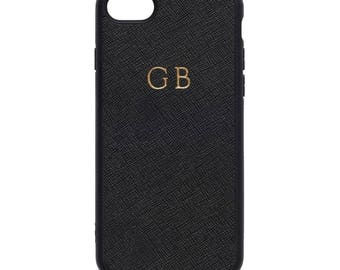 NEW PERSONALISED MONOGRAMMED iPhone 7 Saffiano Leather Cover Case Black