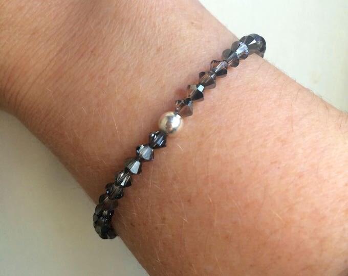 Silver grey Swarovski crystal stretch bracelet with Sterling Silver or 14k Gold fill bead