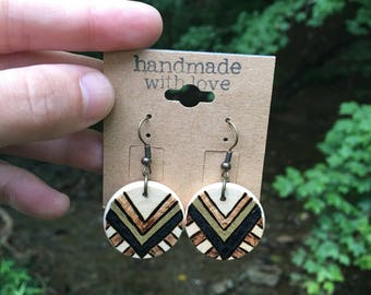 TRIBAL woodburned earrings, wooden earrings