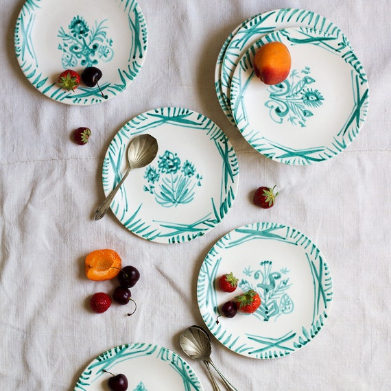 Handpainted Modern Garden Dessert Plates - set of 10