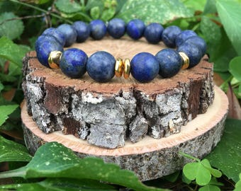 Priscilla Bracelet- Natural Blue Lapiz(10mm) - Blue and gold bracelet- 22k gold plated- boho beaded bracelet - OliverGreyJewelry