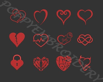 VALENTIN LOVE heart designs for embroidery machine  / coeur motifs pour broderie machine / instant download